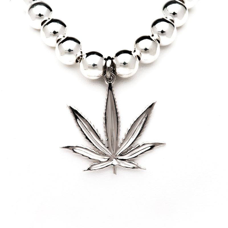 Sterling Silver Sativa Marijuana Leaf Silver Seeds Chain Pendant