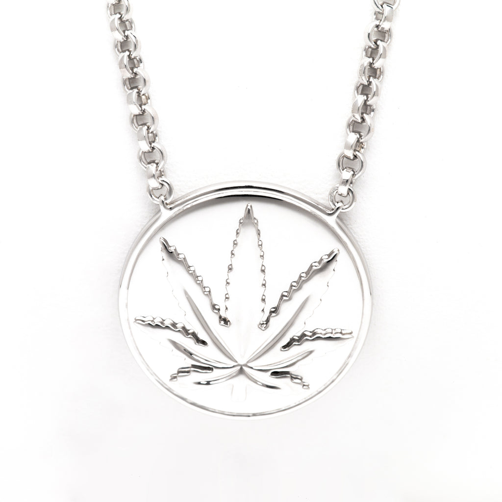 """667"" Sterling Silver Raised Sativa Marijuana Leaf 18mm Necklace"