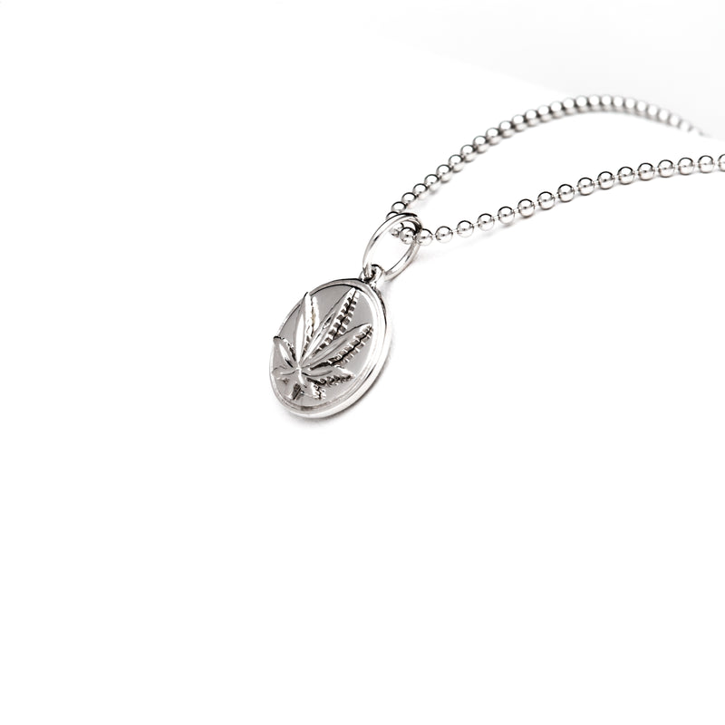 Sterling Silver Sativa Leaf Pendant - Puffed Charm