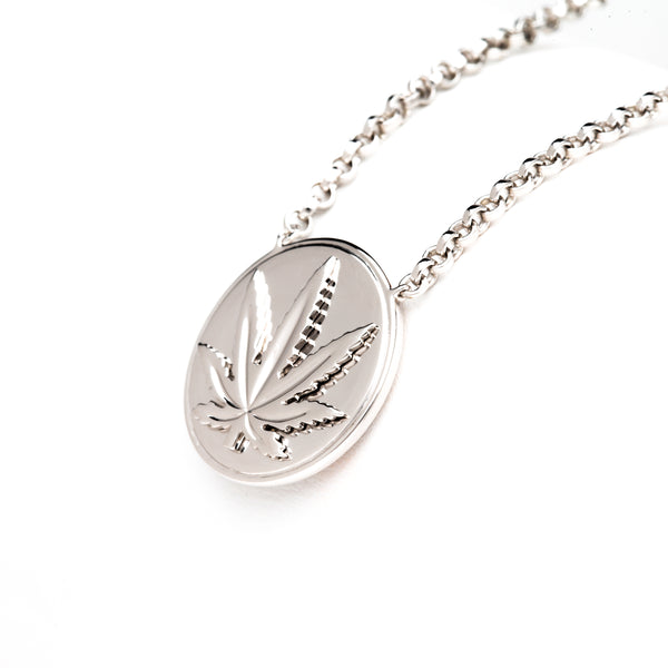 Sterling Silver Sativa Leaf Necklace - Raised Leaf