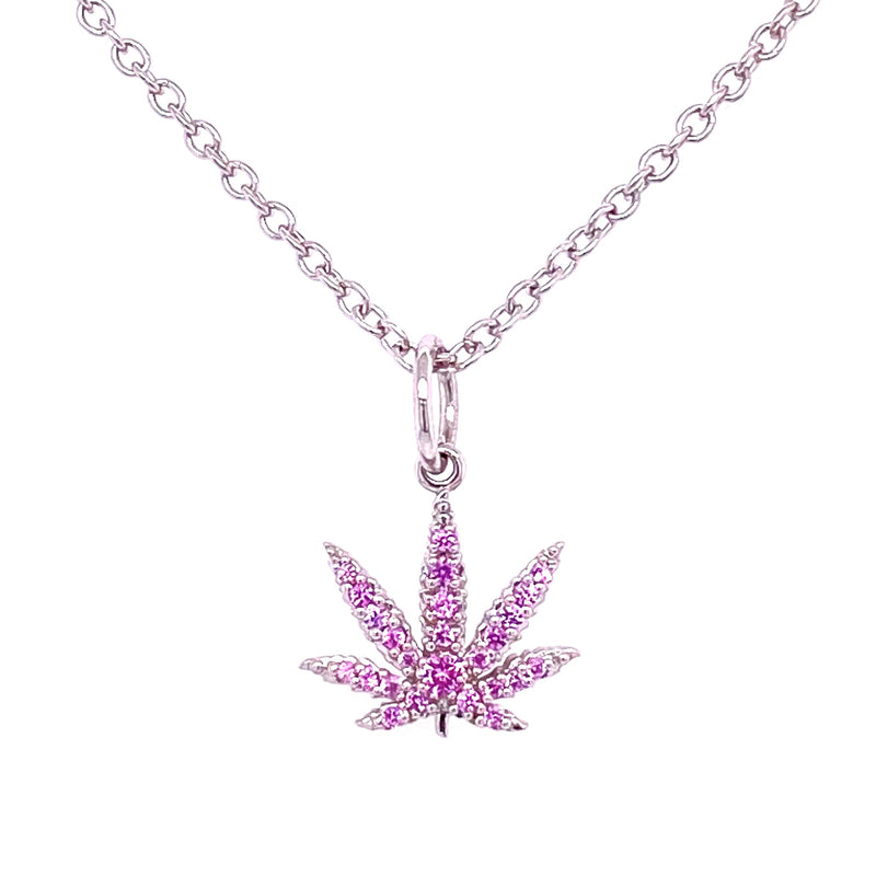 Sterling Silver Sativa Leaf Pendant - Pink Sapphire