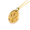 14kt Yellow Gold Modern Leaf Cutout Disc Pendant