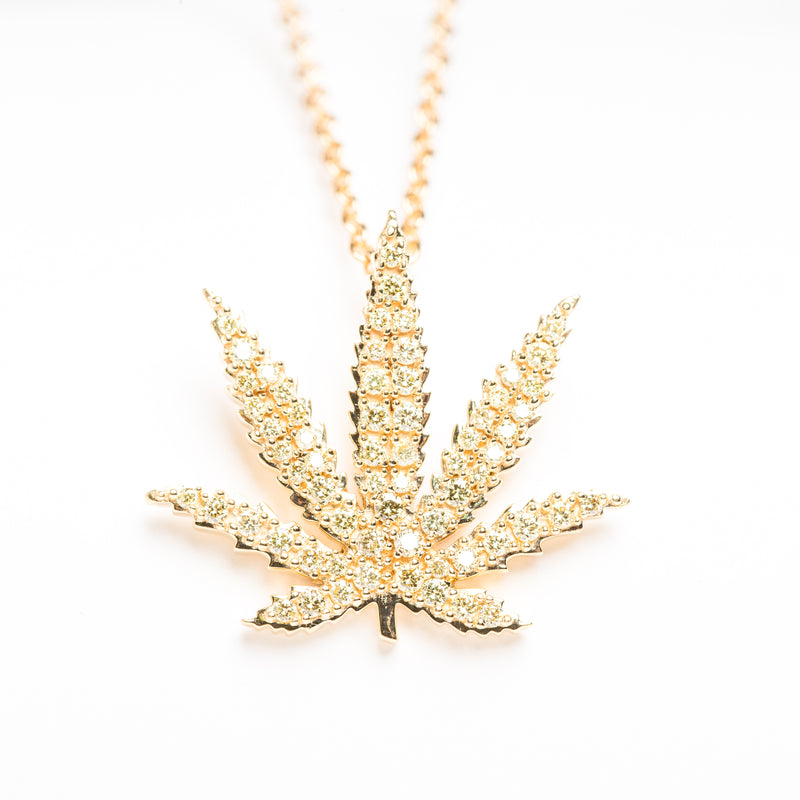 Gold Sativa Leaf Pendant - Fancy Yellow Diamond Pave'