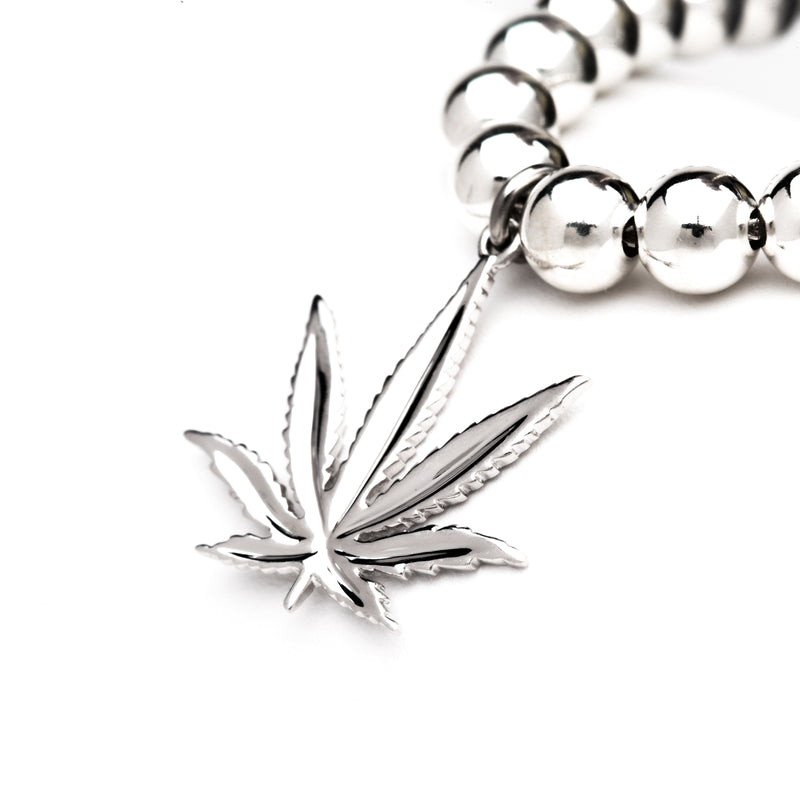 Sterling Silver Sativa Leaf Classic Pendant - Silver Beaded Necklace
