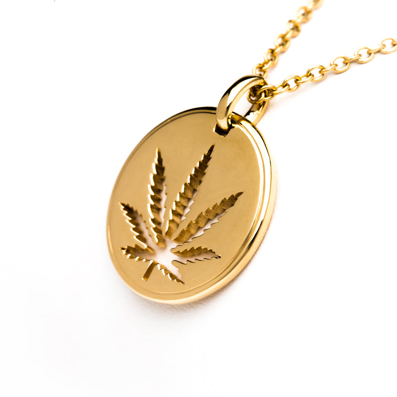 Yellow Gold Sativa Leaf Cutout Disc Pendant