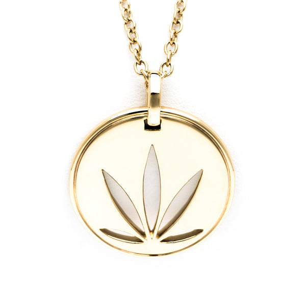 Gold Modern Leaf Pendant - Cutout Disc