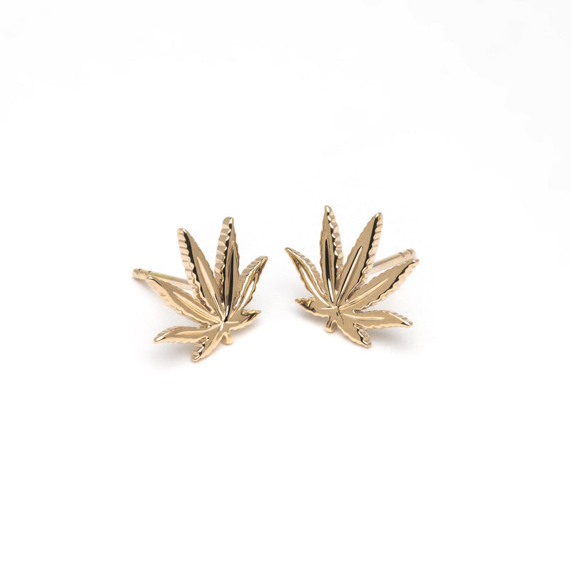 Gold Sativa Leaf Stud Earrings