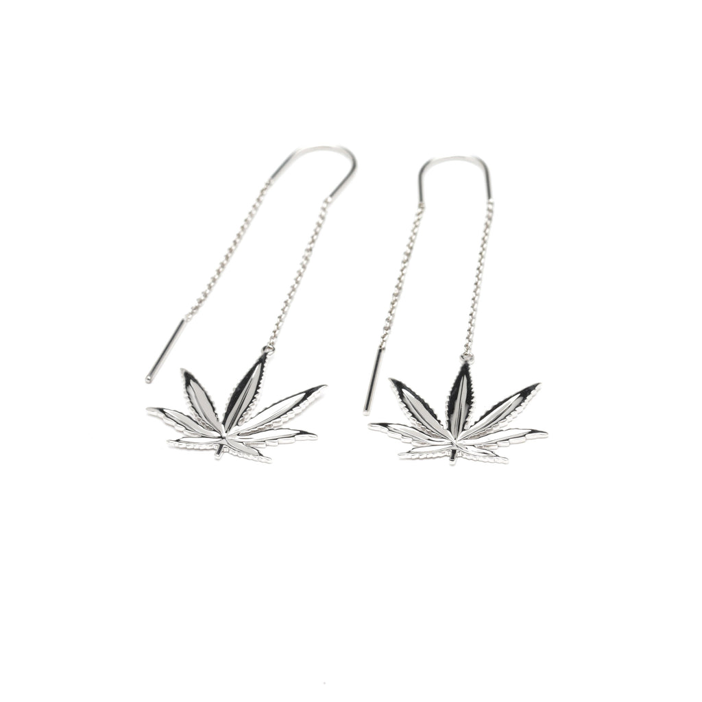 Sterling Silver Sativa Marijuana Leaf Threader Earrings