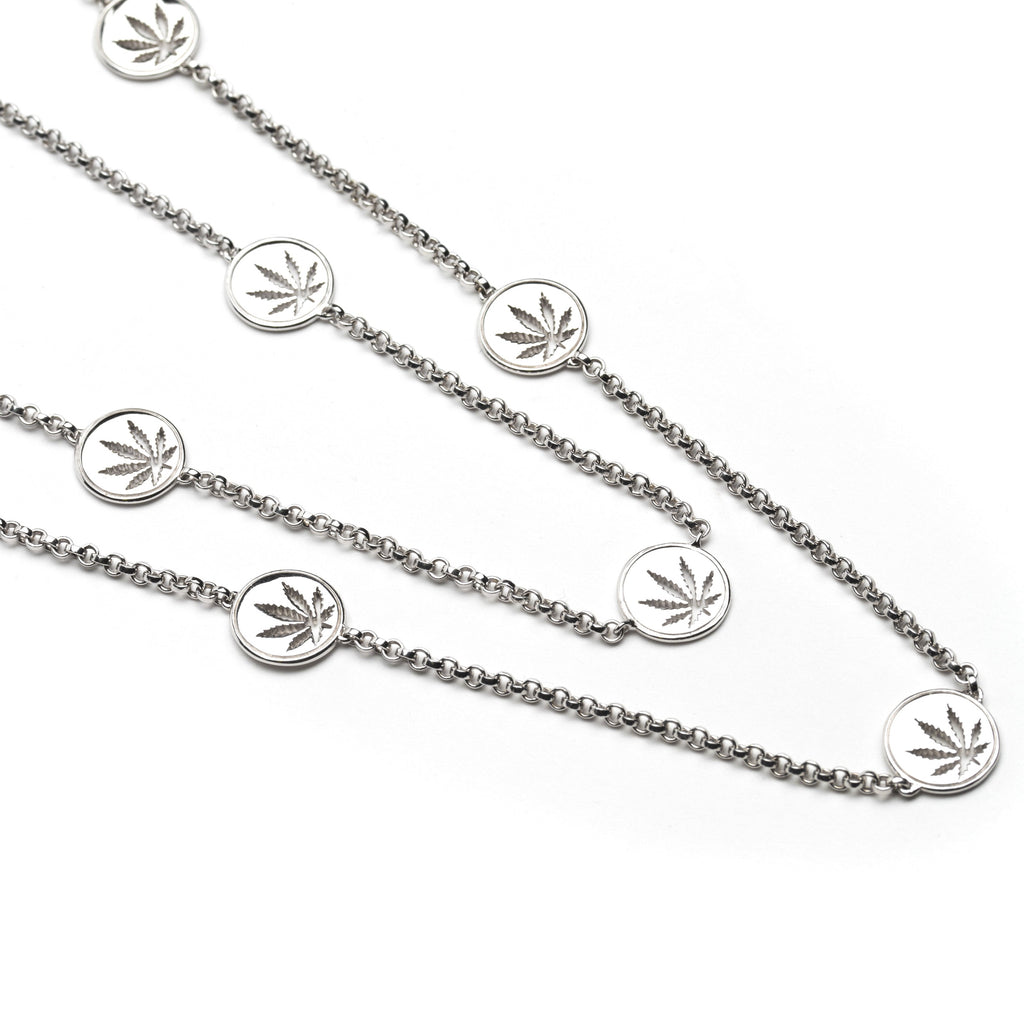 Sterling Silver Sativa Leaf Necklace - 10mm Cutout Discs