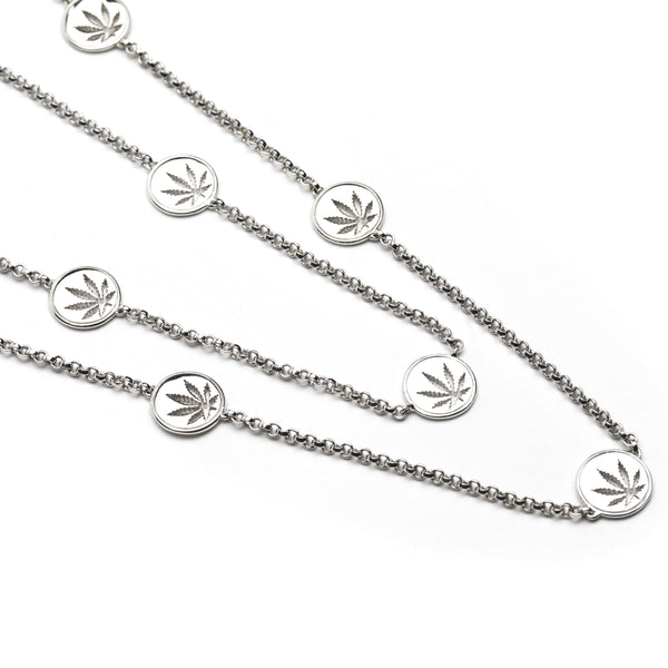 "Sterling Silver Sativa Leaf Necklace ""Weed by the Yard"" - 10mm Cutout Discs"