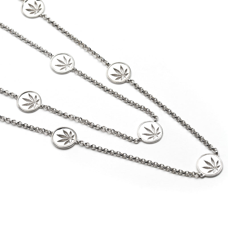 Sterling Silver Sativa Leaf Necklace Cutout Discs
