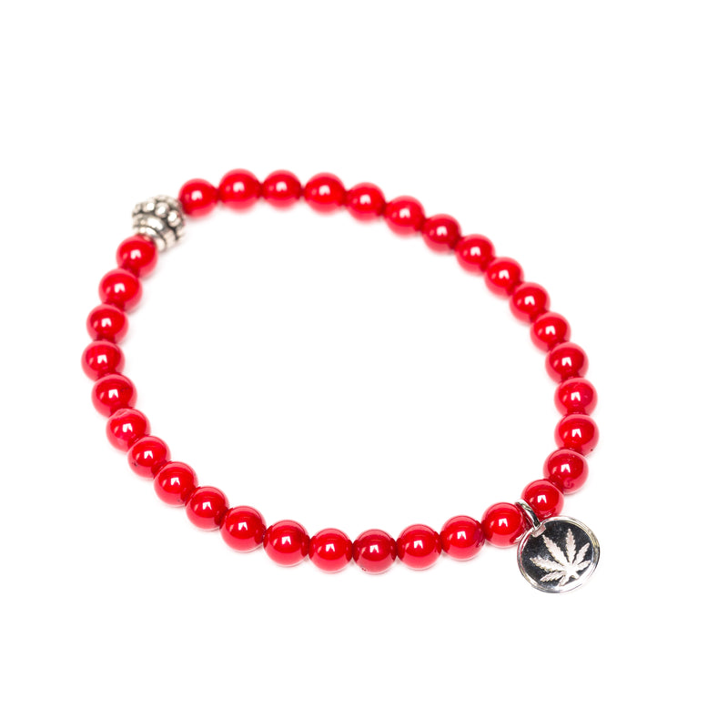 Gemstone Beaded Bracelet Sterling Silver Charm - Bamboo Red Coral
