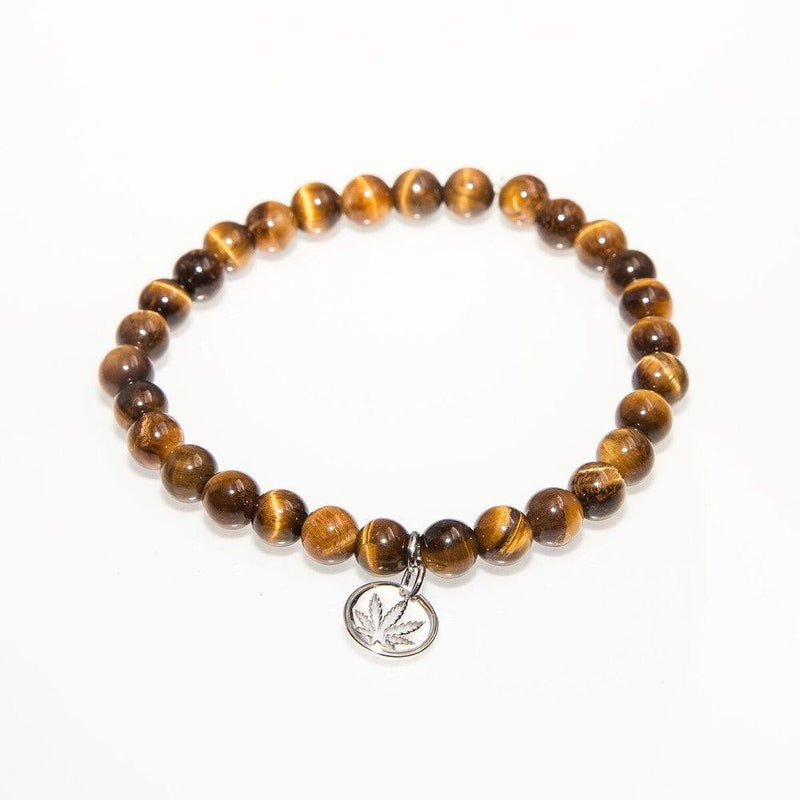 Gemstone Beaded Bracelet Sterling Silver Charm - Brown Tiger Eye