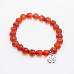 Gemstone Beaded Bracelet Sterling Silver Charm - Carnelian Dream