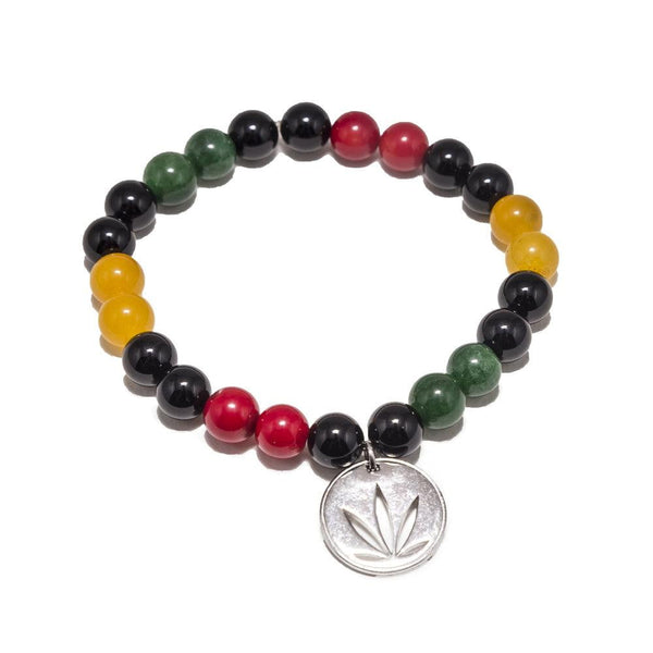 Gemstone Beaded Bracelet Sterling Silver Charm - Rasta Nation