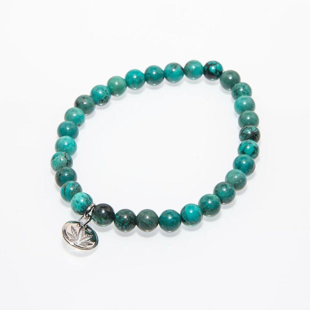 Sterling Silver Cut Out Charm Turquoise Gemstone Bead Bracelet