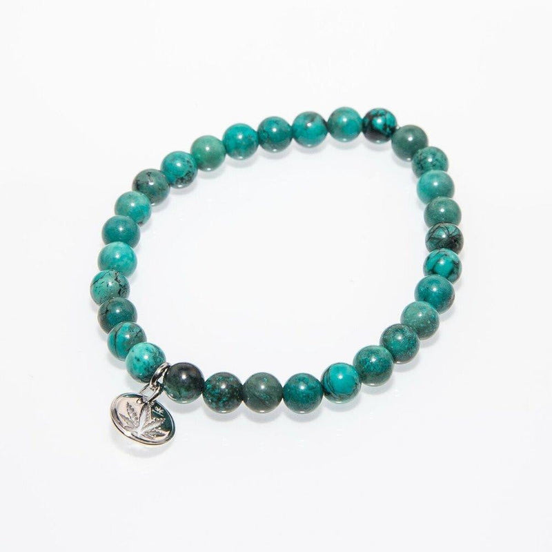 Gemstone Beaded Bracelet Sterling Silver Charm - Turquoise