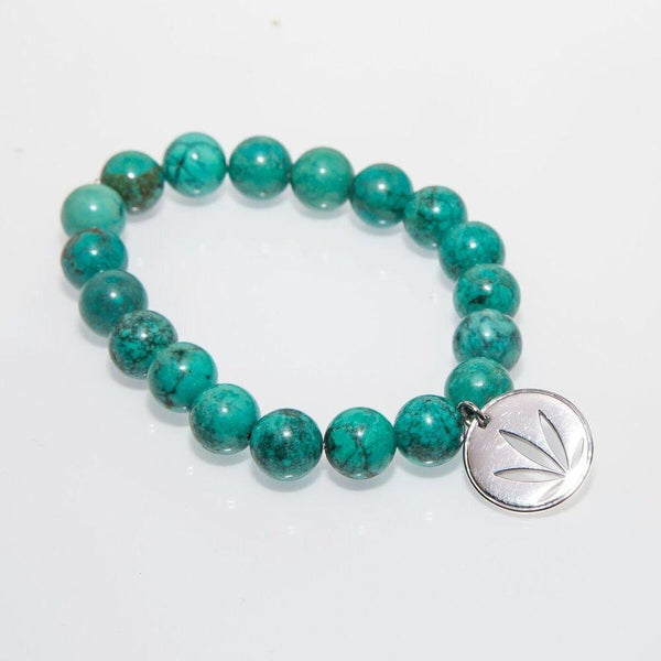 Gemstone Beaded Bracelet Sterling Silver Charm - Turquoise Custom