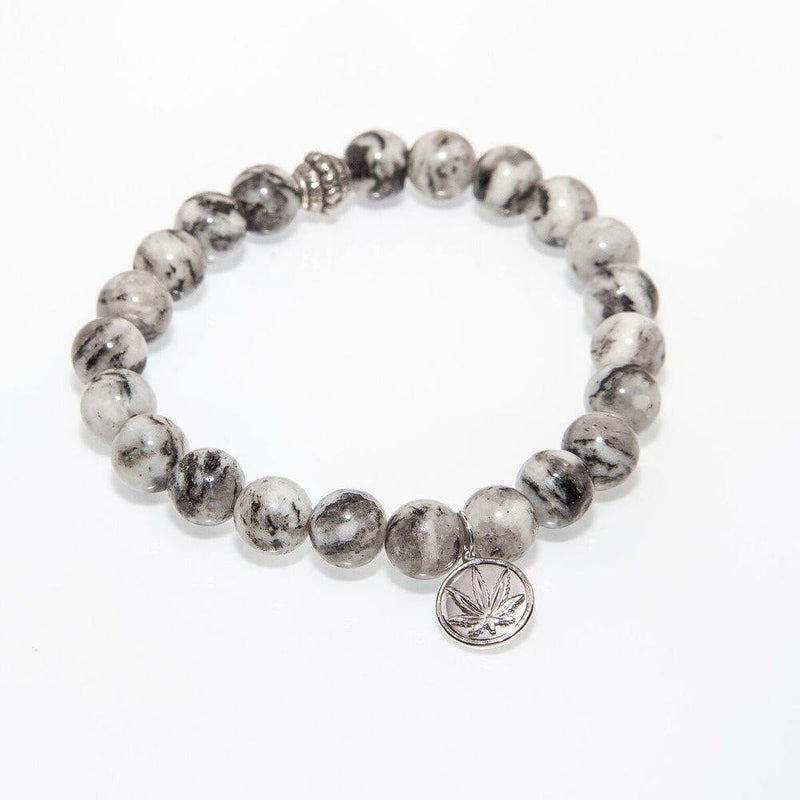 Gemstone Beaded Bracelet Sterling Silver Charm - Dragon Vein