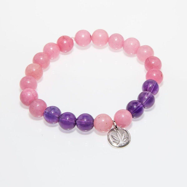 Gemstone Beaded Bracelet Sterling Silver Charm - Amethyst & Rose Quartz