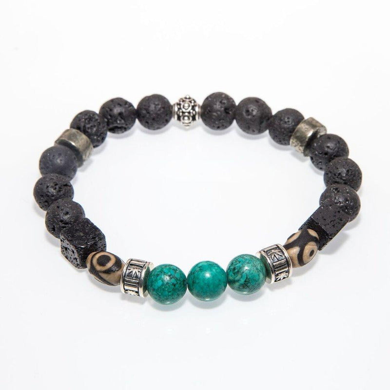 Gemstone Beaded Bracelet Turquoise, Tibetan, & Lava Rock - Custom