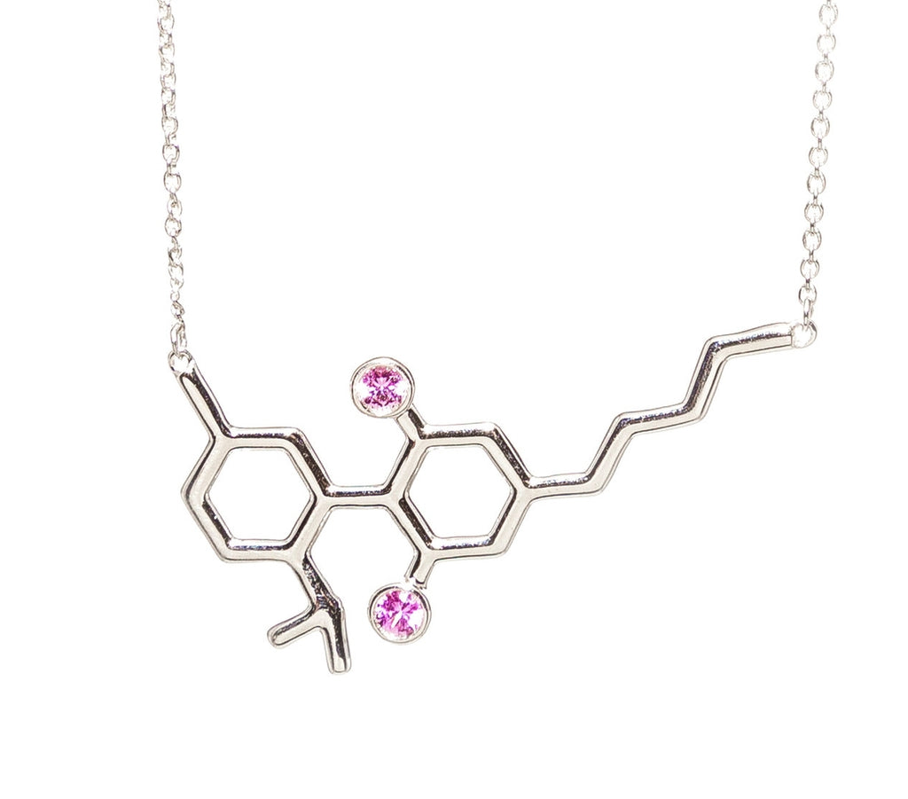 Sterling Silver CBD Molecule with Pink Sapphires Necklace