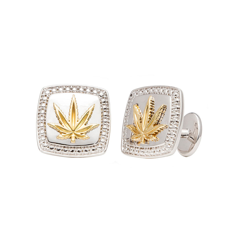 Gold and Sterling Silver Cushion Cut Cufflinks