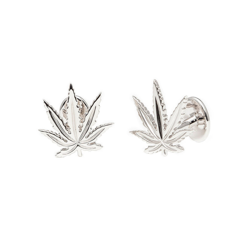 Sterling Silver Sativa Marijuana Leaf Cufflinks