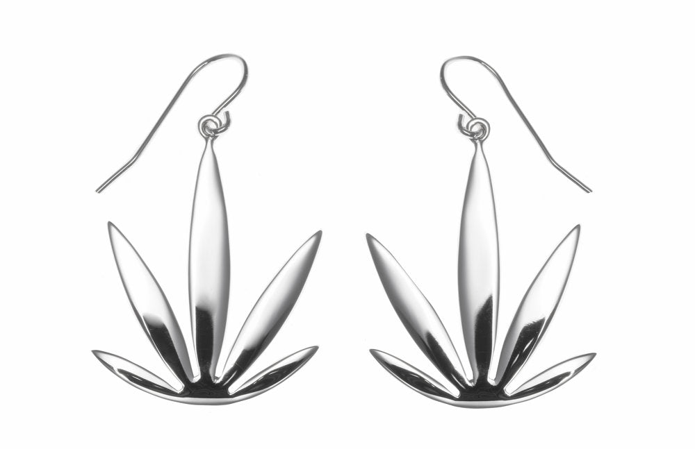 Sterling Silver Modern Leaf Earrings