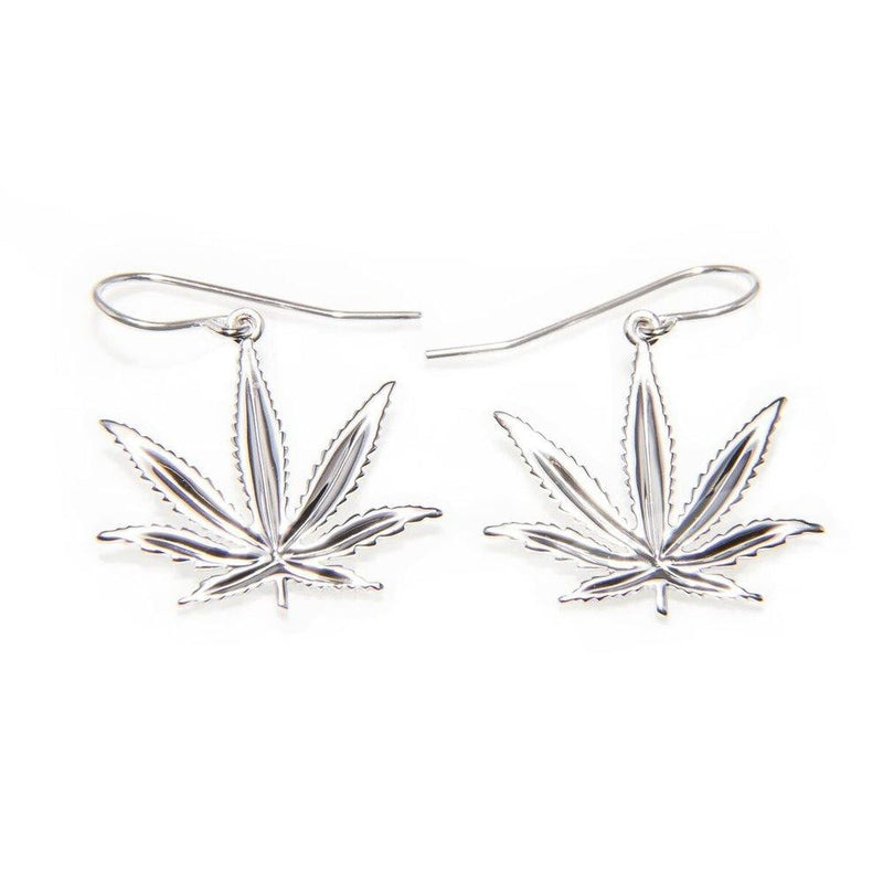 Sterling Silver Sativa Marijuana Leaf Shepard Hook Earrings