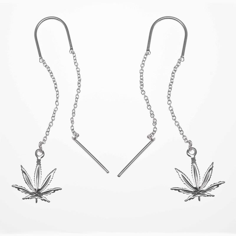 Sterling Silver Sativa Leaf Classic Earrings - Threader