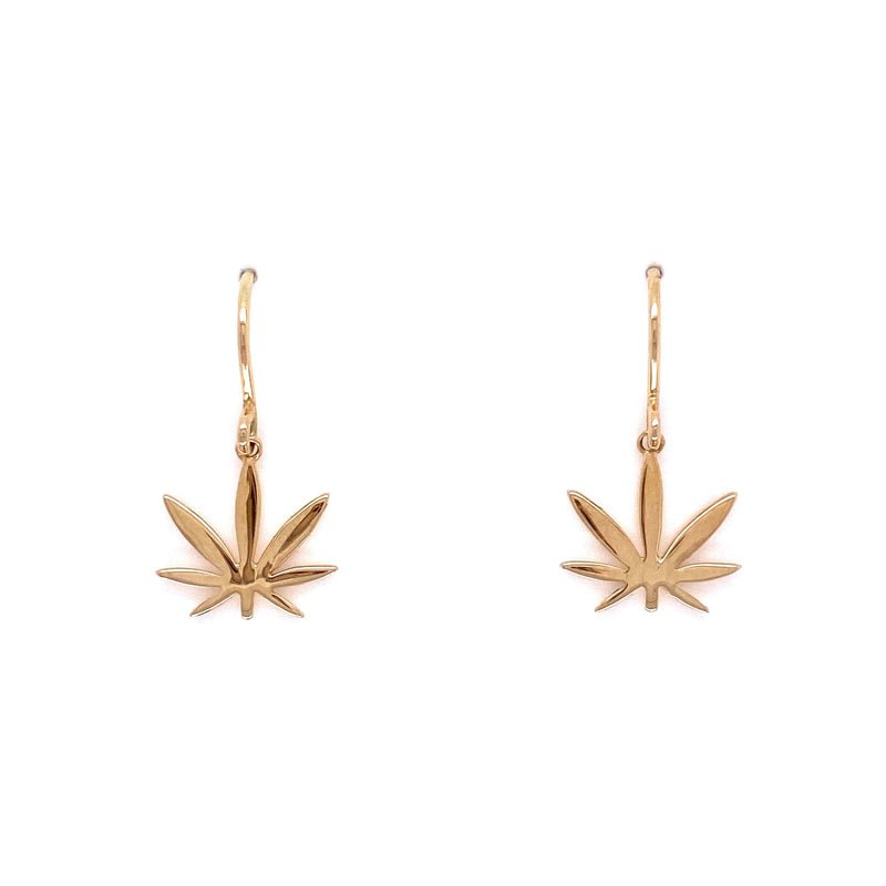 Gold Modern 7 Leaf Earrings - French Wires