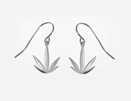 Sterling Silver Modern Leaf Earrings - French Wires