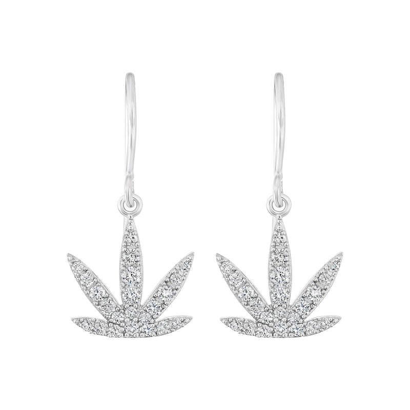 Gold Modern Leaf Earrings - Diamond Pave' - French Wires