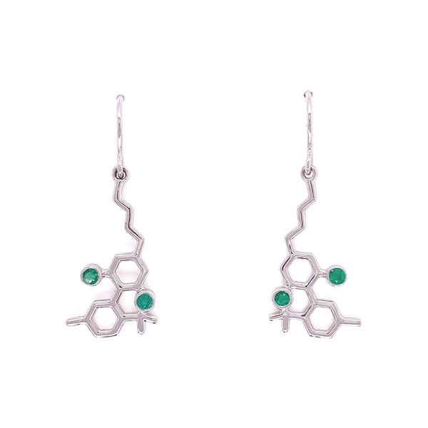 Sterling Silver Molecule Earrings Emeralds