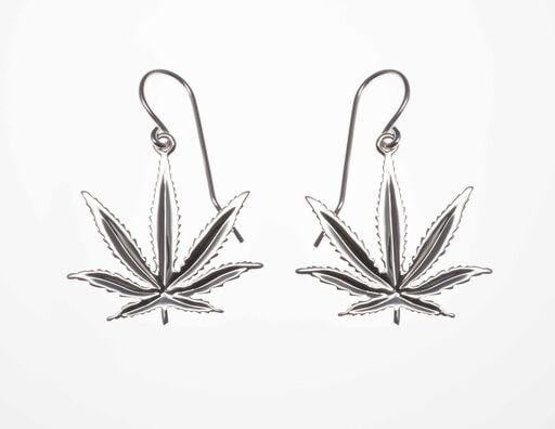 Sterling Silver Sativa Leaf Classic Earrings - French Wires