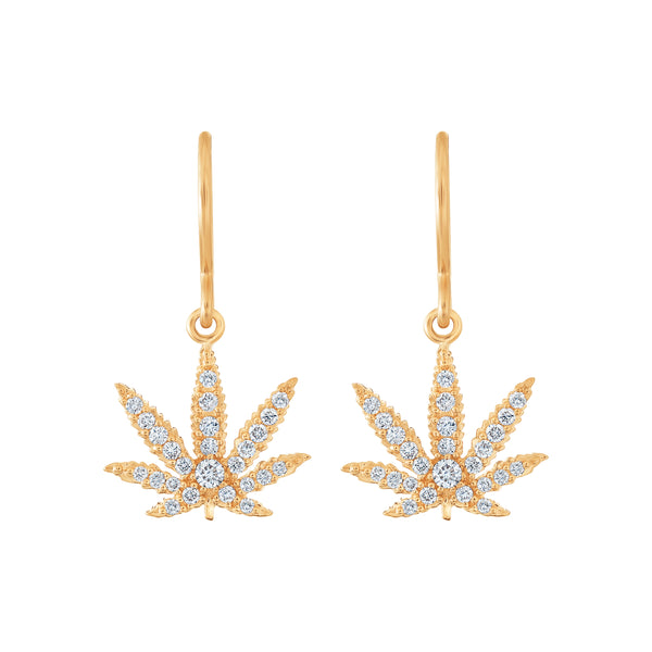 Gold Sativa Leaf Earrings - Diamond Pavé - French Wires
