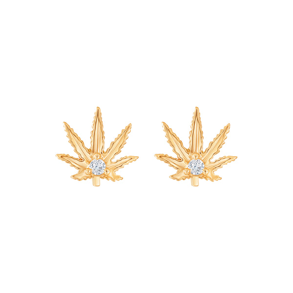 "Gold Sativa Leaf Earrings - Our ""Sweet Sativa"""