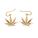 Gold Sativa Leaf Classic Earrings - French Wires