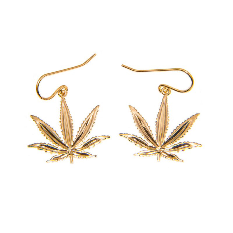 14kt Yellow Gold Sativa Marijuana Leaf Earrings