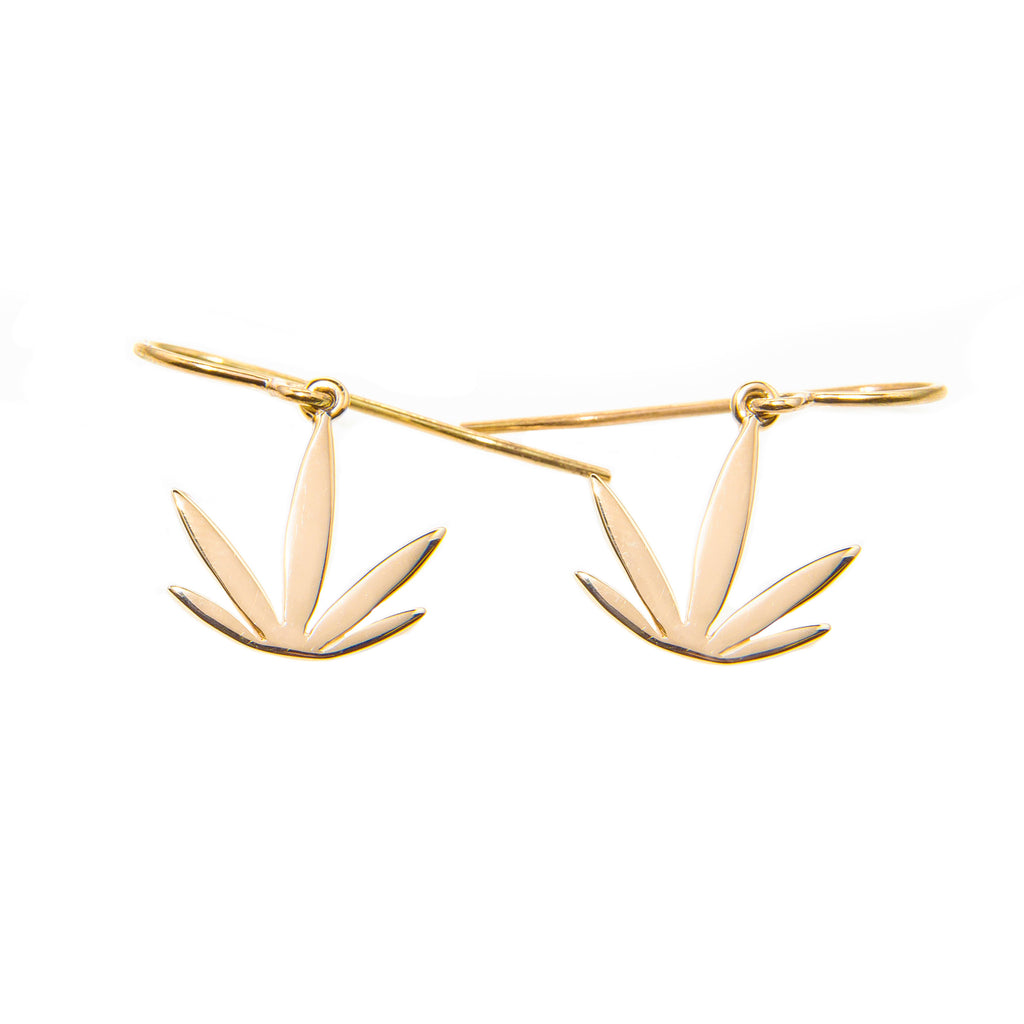 Gold Modern Leaf Earrings