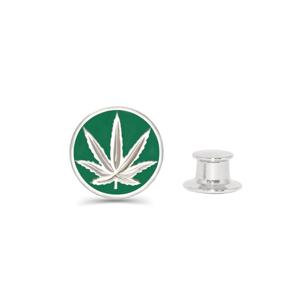 Sterling Silver Sativa Marijuana Leaf Green Enamel Fashion/Lapel Pin