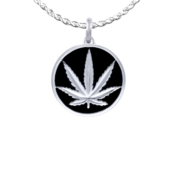 Sterling Silver Sativa Leaf Pendant - Black Enamel