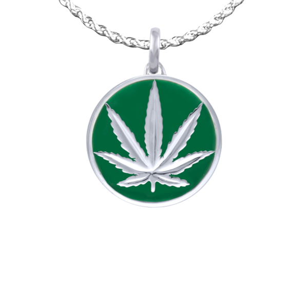 Sterling Silver Sativa Leaf Pendant - Green Enamel