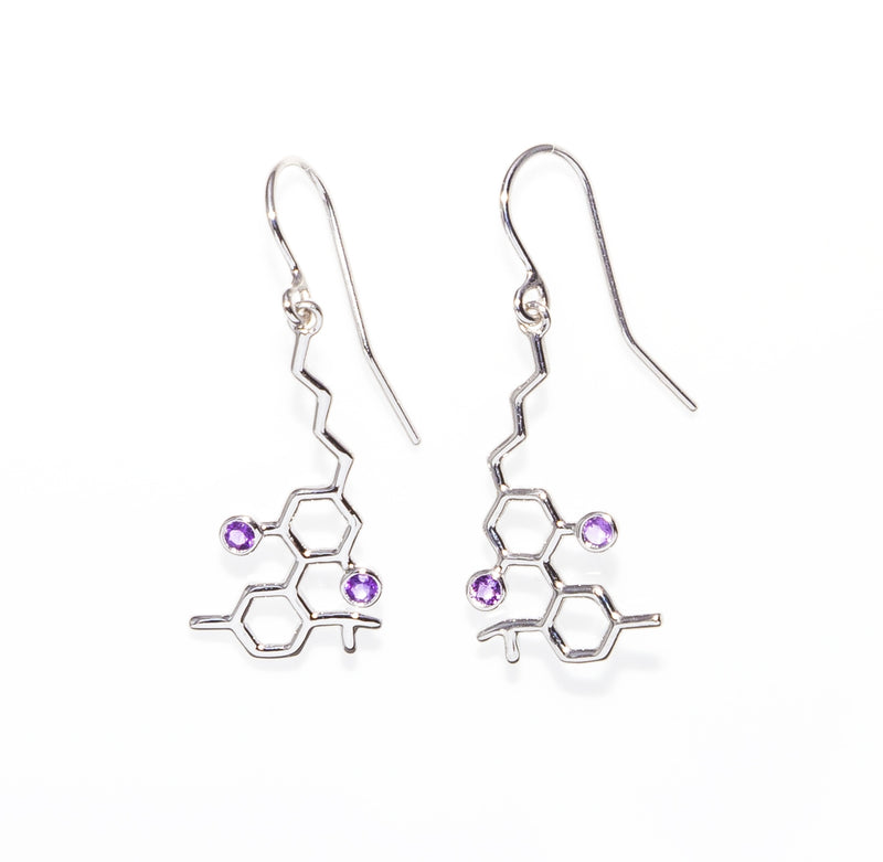 Sterling Silver Molecule Earrings Amethyst