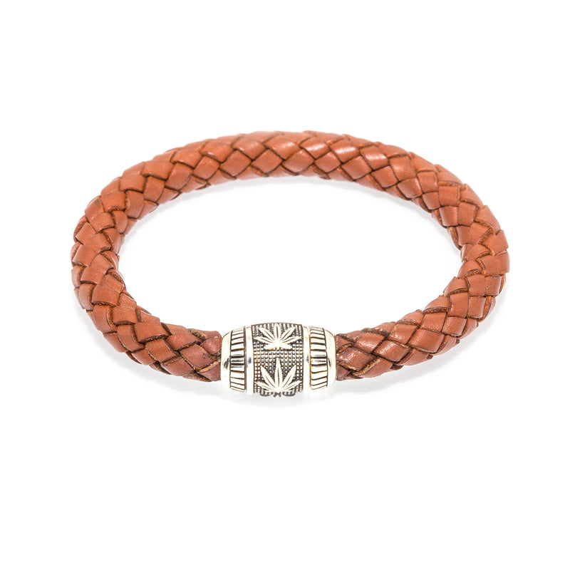 """Grower's BOHO"" Sterling Silver and Saddle Leather Bracelet"