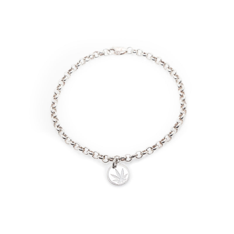 Sterling Silver Sativa Leaf Bracelet - Chain with Charm