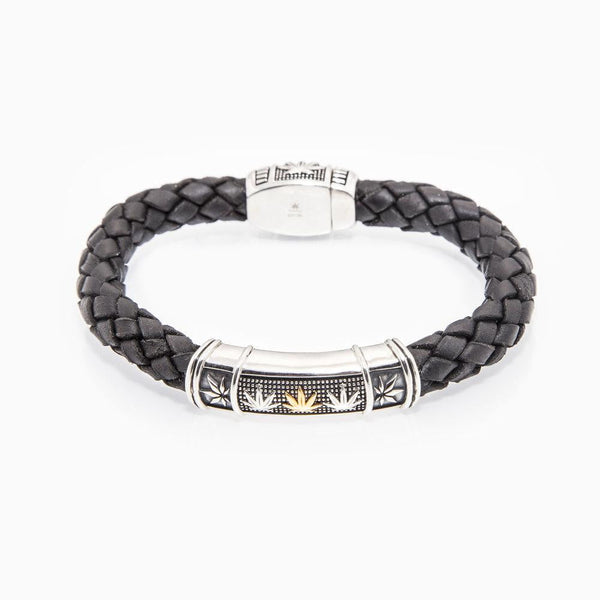 Gold and Sterling Silver Bracelet - Leather HIGH POINT - Black