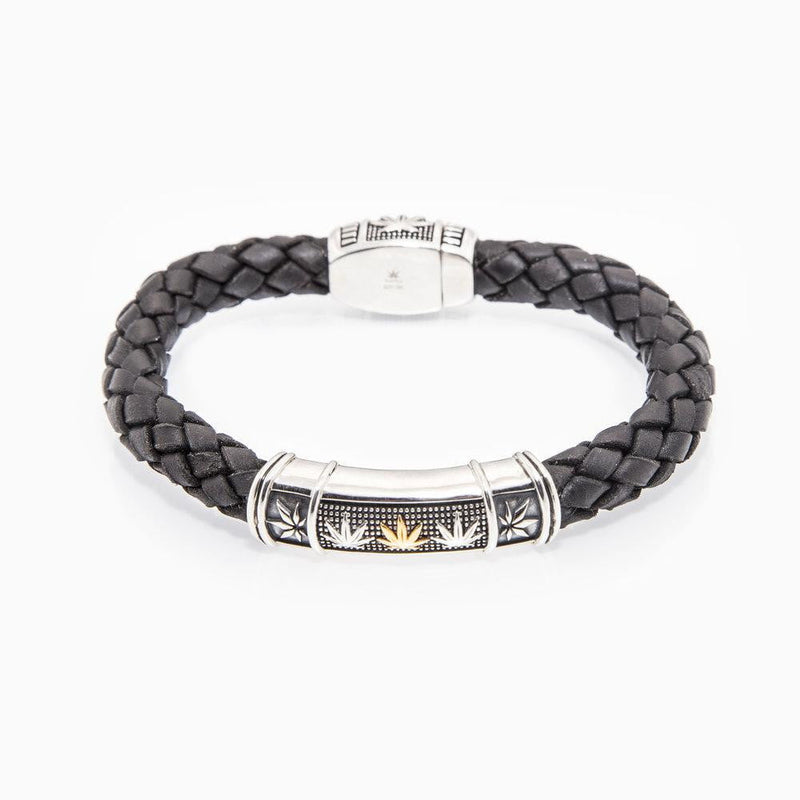 18kt Yellow Gold & Sterling Silver GENIFER M and Sativa Leaf Black Leather Braided Bracelet