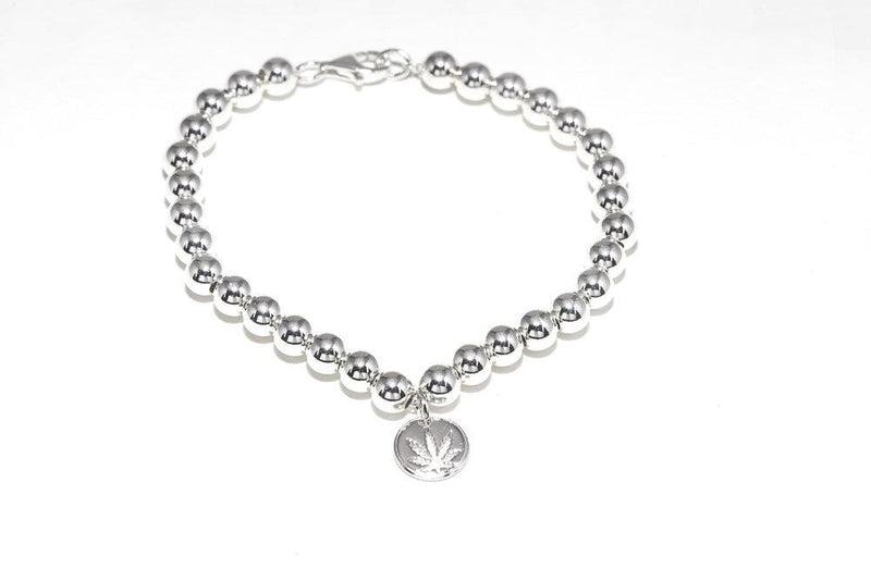 Sterling Silver Bead Bracelet with Sativa Charm